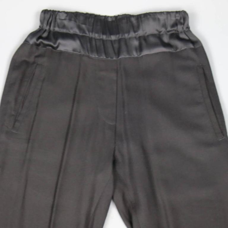 ANN DEMEULEMEESTER Size 4 Black Rayon Thick Silk Waistband Trousers In Excellent Condition For Sale In San Francisco, CA