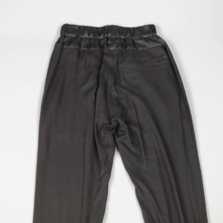 ANN DEMEULEMEESTER Size 4 Black Rayon Thick Silk Waistband Trousers For Sale 1