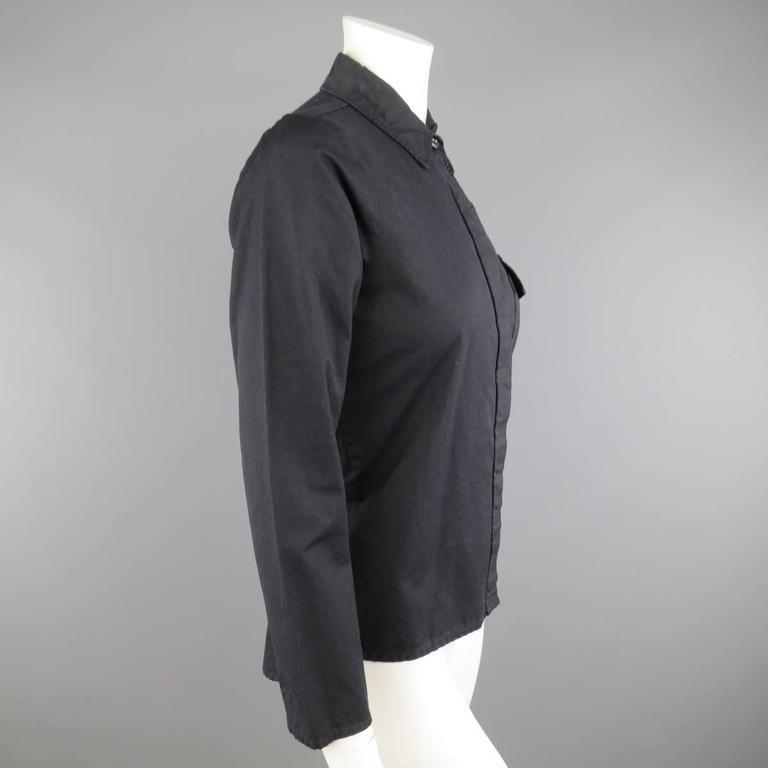Women's Vintage MAISON MARTIN MARGIELA 6 Black Cotton Hidden Placket Tight Fit Shirt For Sale