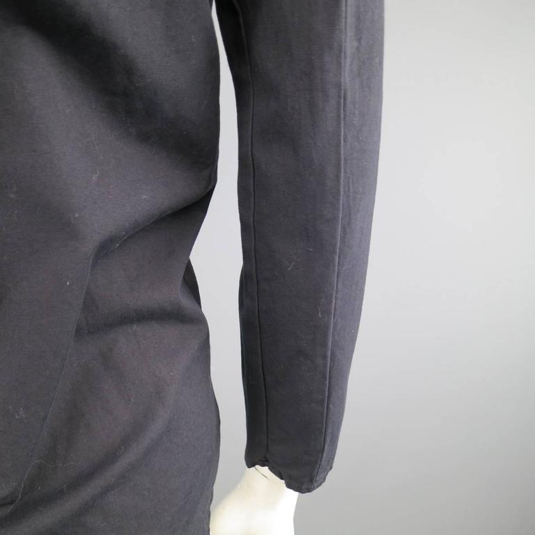 Vintage MAISON MARTIN MARGIELA 6 Black Cotton Hidden Placket Tight Fit Shirt For Sale 2