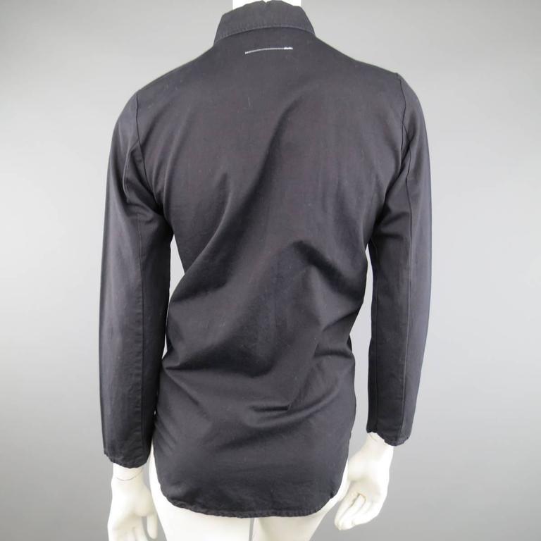 Vintage MAISON MARTIN MARGIELA 6 Black Cotton Hidden Placket Tight Fit Shirt For Sale 1