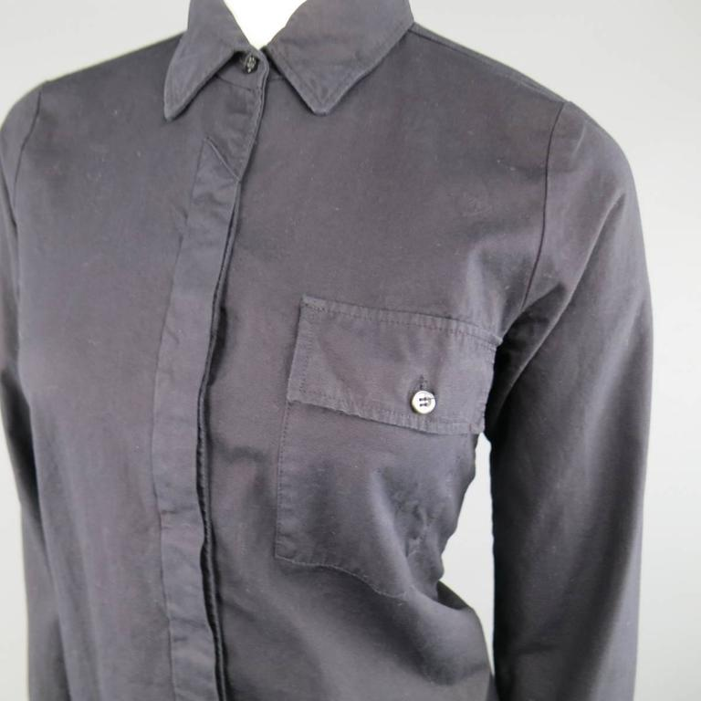 Vintage MAISON MARTIN MARGIELA 6 Black Cotton Hidden Placket Tight Fit Shirt In Good Condition For Sale In San Francisco, CA