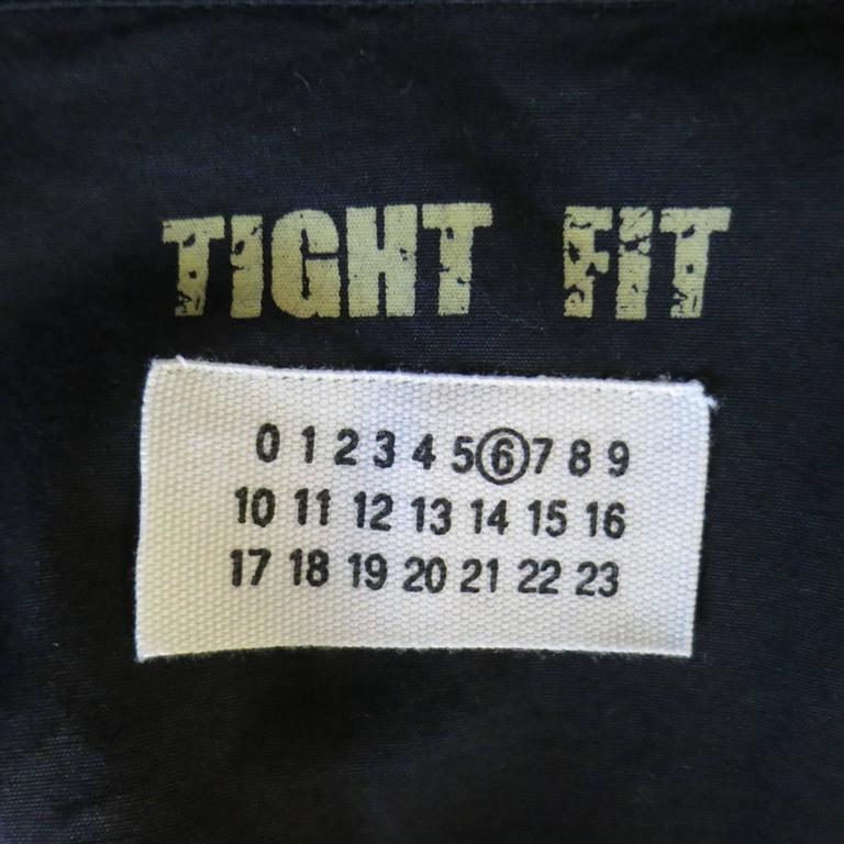 Vintage MAISON MARTIN MARGIELA 6 Black Cotton Hidden Placket Tight Fit Shirt For Sale 3