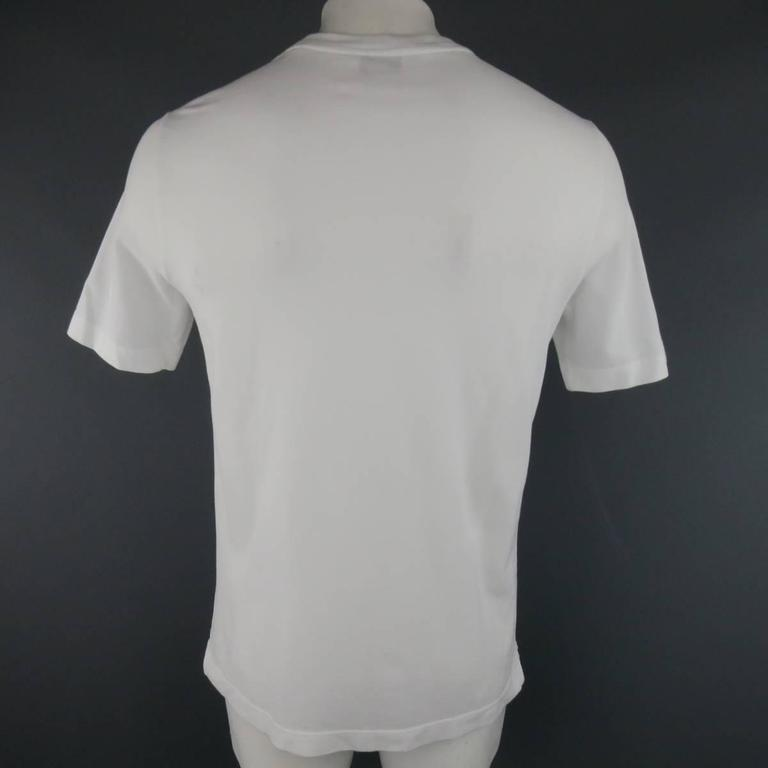 Women's or Men's HERMES Size XL White Pique Ebroidered Emblem Ras du Cou Pocket T-shirt For Sale