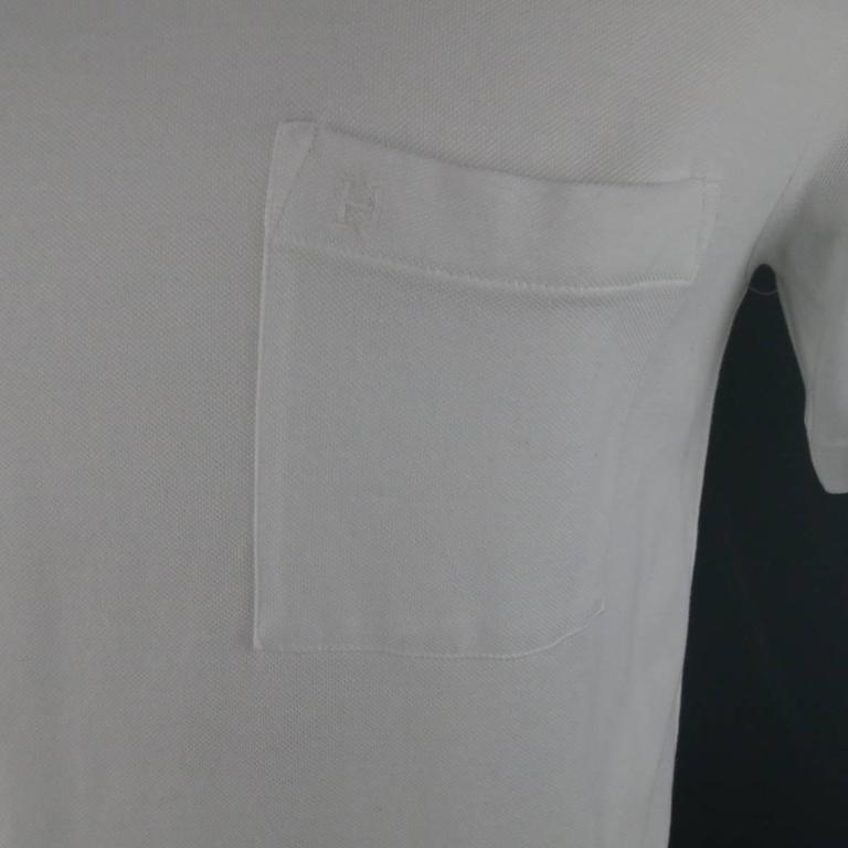 Gray HERMES Size XL White Pique Ebroidered Emblem Ras du Cou Pocket T-shirt For Sale