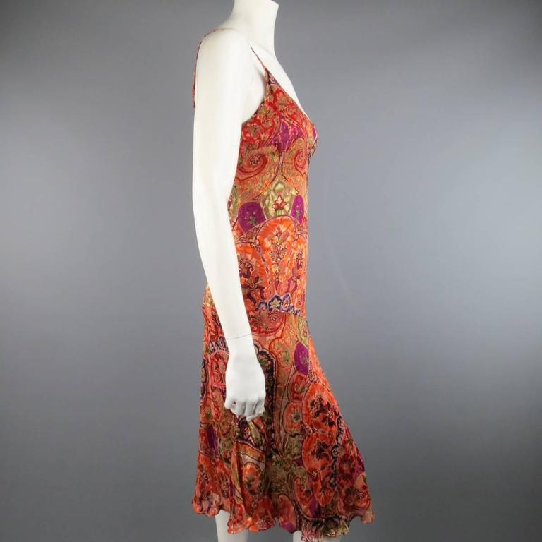 MAX MARA Size 10 Burnt Orange Burnout Paisley Silk Blend Slip Dress ...