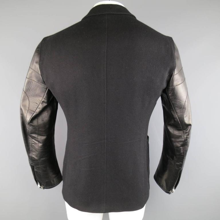 ae6569e2a5f Men s GUCCI 40 Black Wool Blend Motorcycle Jacket Sleeve Sport Coat For Sale  4