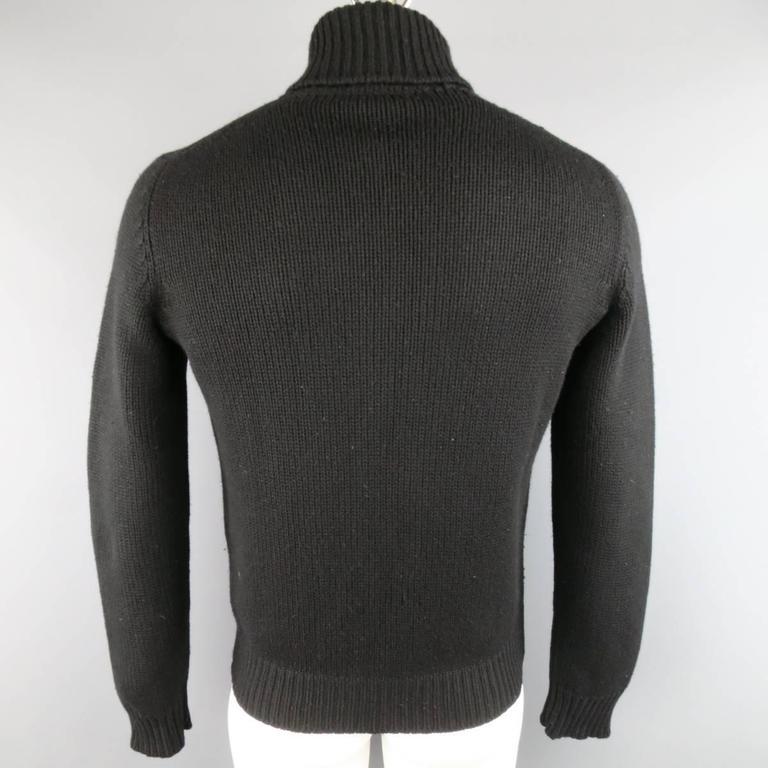 Men's YVES SAINT LAURENT Size M Black Knitted Cashmere Zip Cardigan 4