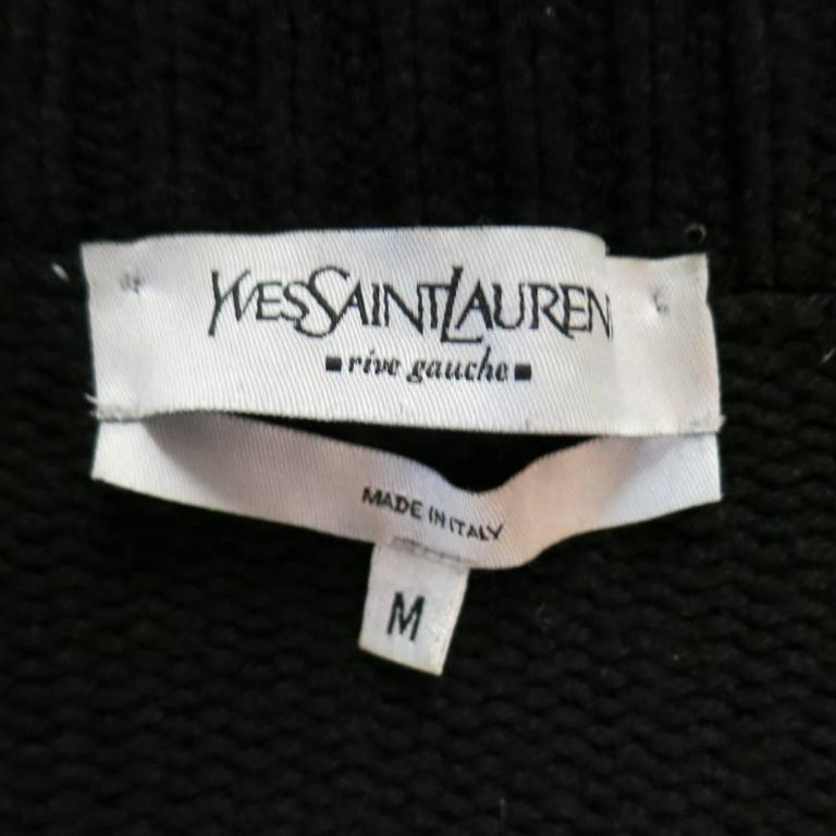 Men's YVES SAINT LAURENT Size M Black Knitted Cashmere Zip Cardigan 5