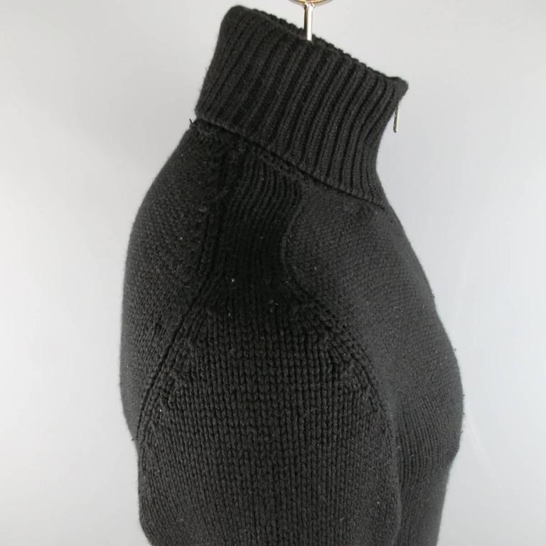 Men's YVES SAINT LAURENT Size M Black Knitted Cashmere Zip Cardigan 3