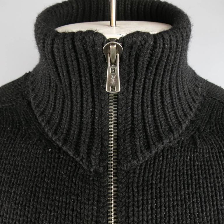 Men's YVES SAINT LAURENT Size M Black Knitted Cashmere Zip Cardigan 2