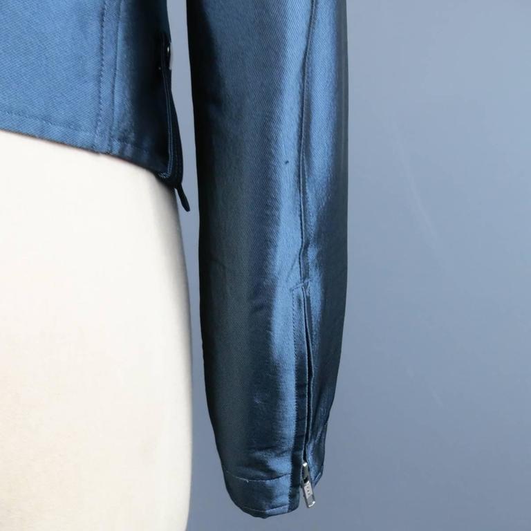 Y-3 Yohji Yamamoto Size M Metallic Blue Open Biker Motorcycle Style Jacket 5