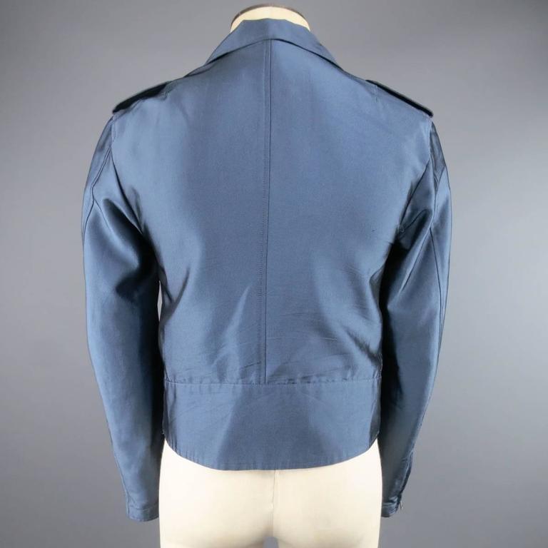 Y-3 Yohji Yamamoto Size M Metallic Blue Open Biker Motorcycle Style Jacket 6