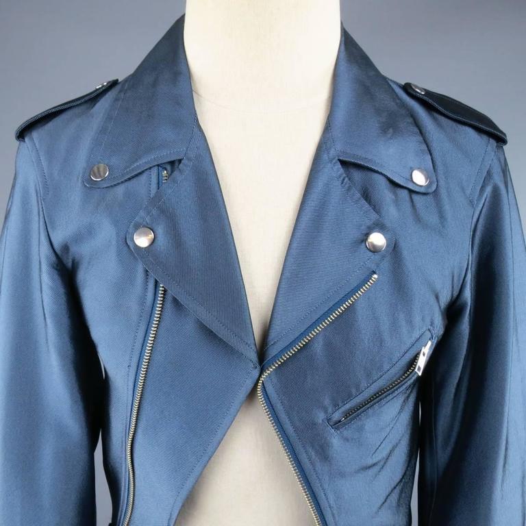 Y-3 Yohji Yamamoto Size M Metallic Blue Open Biker Motorcycle Style Jacket 2