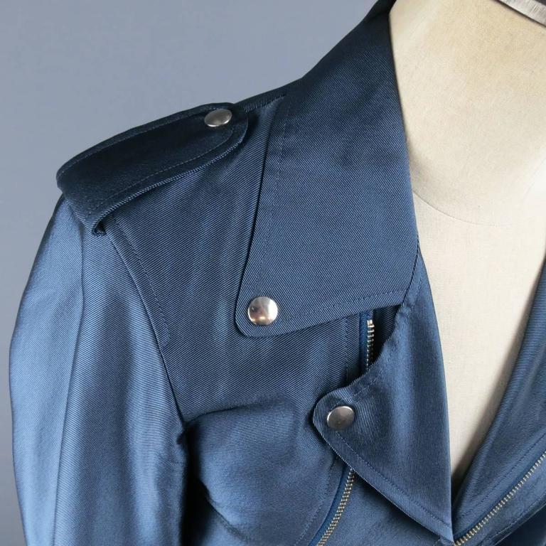 Y-3 Yohji Yamamoto Size M Metallic Blue Open Biker Motorcycle Style Jacket 3