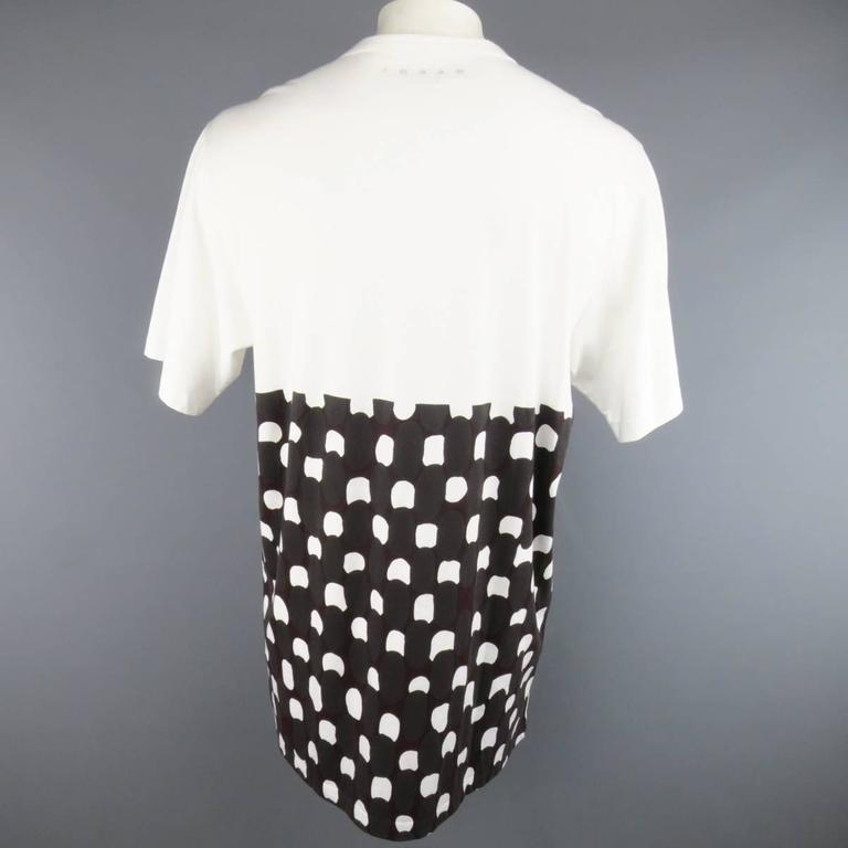 MARNI Size M White Burgundy Polka Dot Print Block Extended T-shirt In New Never_worn Condition For Sale In San Francisco, CA