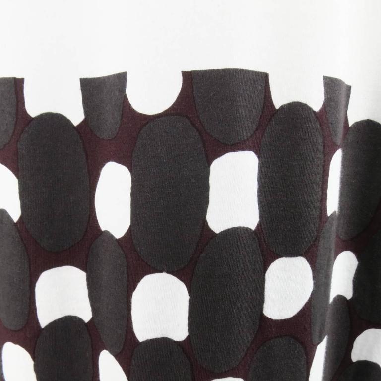 MARNI Size M White Burgundy Polka Dot Print Block Extended T-shirt 3