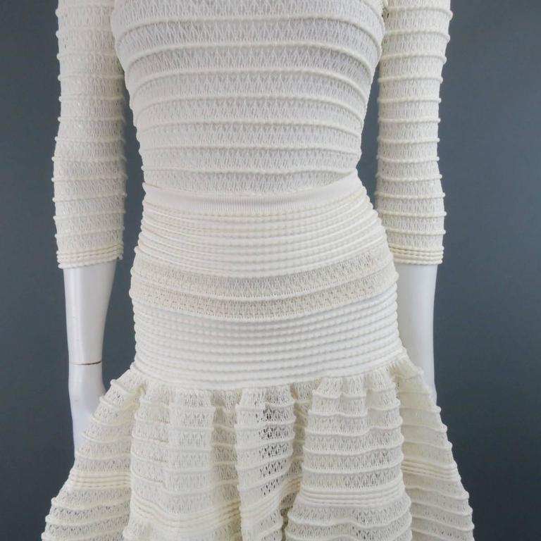 ALAIA Size M Cream Mesh Knit Scoop Neck Ruffle Skirt Set In Excellent Condition For Sale In San Francisco, CA