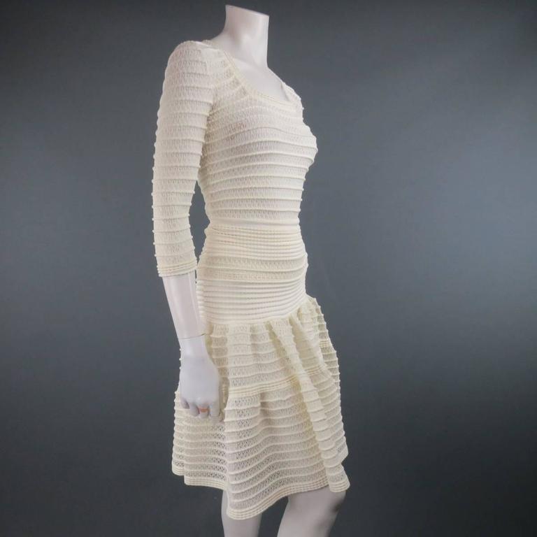 Women's ALAIA Size M Cream Mesh Knit Scoop Neck Ruffle Skirt Set For Sale