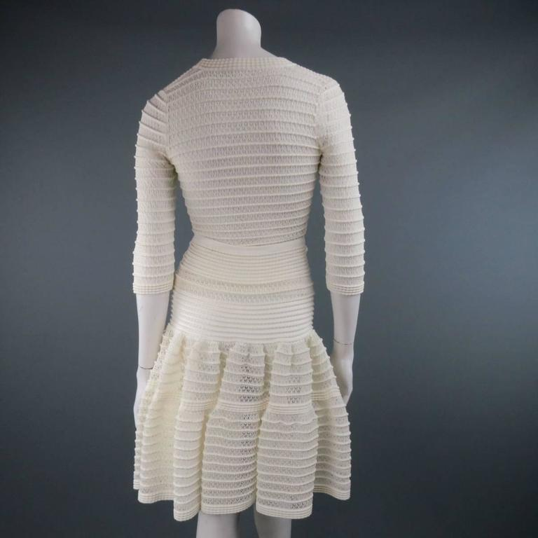 ALAIA Size M Cream Mesh Knit Scoop Neck Ruffle Skirt Set For Sale 1
