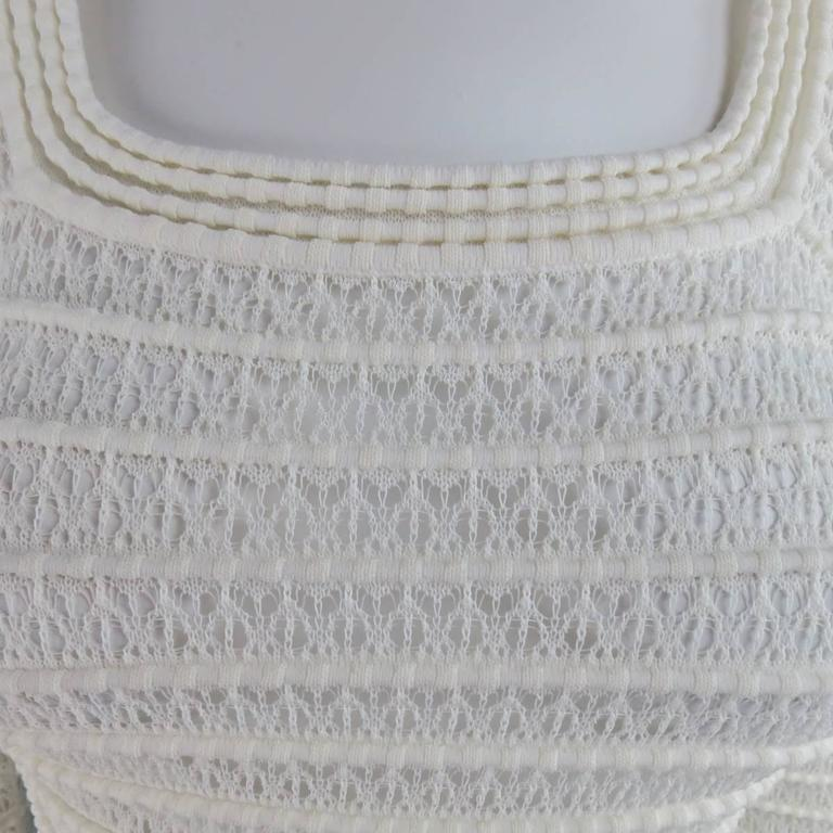 Gray ALAIA Size M Cream Mesh Knit Scoop Neck Ruffle Skirt Set For Sale