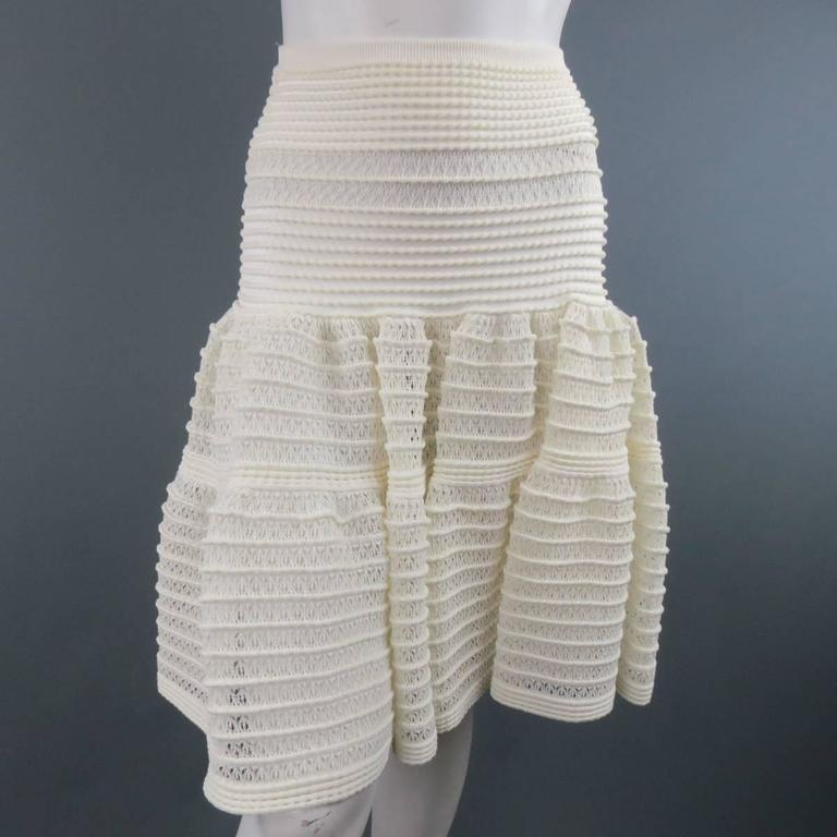 ALAIA Size M Cream Mesh Knit Scoop Neck Ruffle Skirt Set For Sale 2