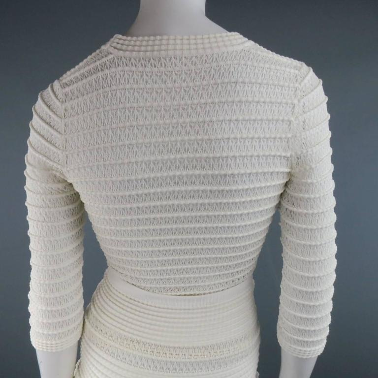 ALAIA Size M Cream Mesh Knit Scoop Neck Ruffle Skirt Set For Sale 4