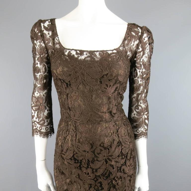 DOLCE & GABBANA Size 8 Brown Lace Scoop Neck 3/4 Sleeve Cocktail Dress 2