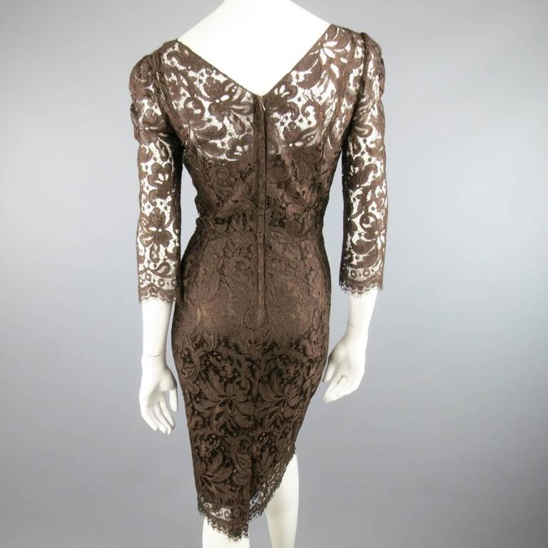 DOLCE & GABBANA Size 8 Brown Lace Scoop Neck 3/4 Sleeve Cocktail Dress 6