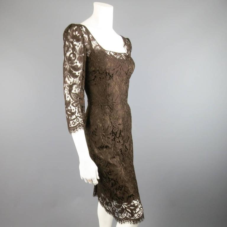 DOLCE & GABBANA Size 8 Brown Lace Scoop Neck 3/4 Sleeve Cocktail Dress 4