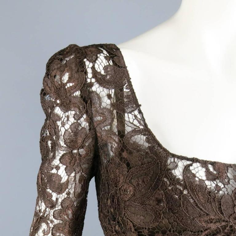 DOLCE & GABBANA Size 8 Brown Lace Scoop Neck 3/4 Sleeve Cocktail Dress 3