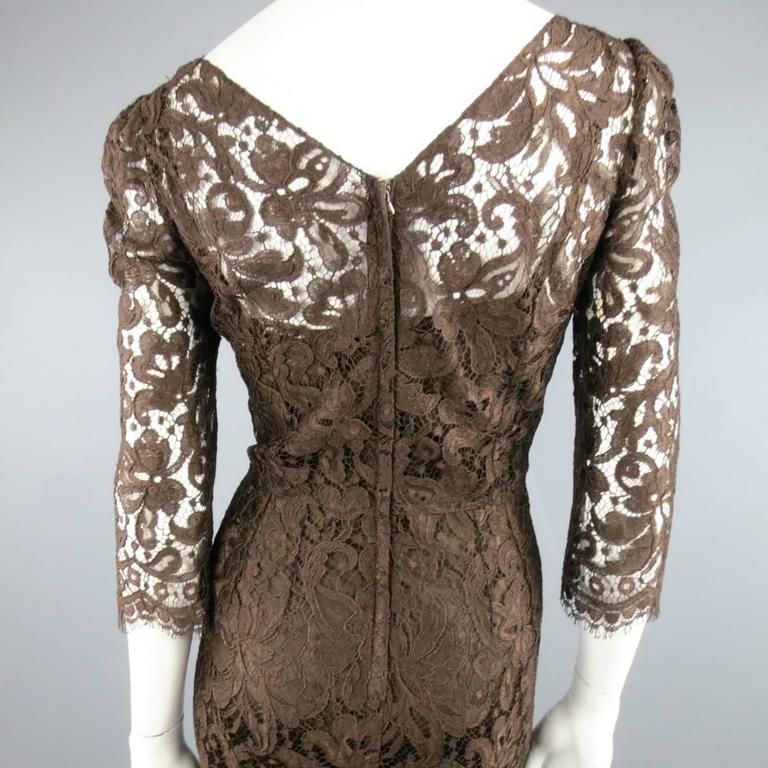 DOLCE & GABBANA Size 8 Brown Lace Scoop Neck 3/4 Sleeve Cocktail Dress 7