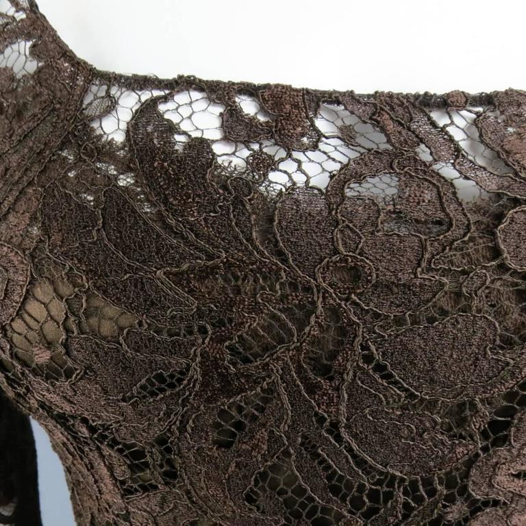 DOLCE & GABBANA Size 8 Brown Lace Scoop Neck 3/4 Sleeve Cocktail Dress 5