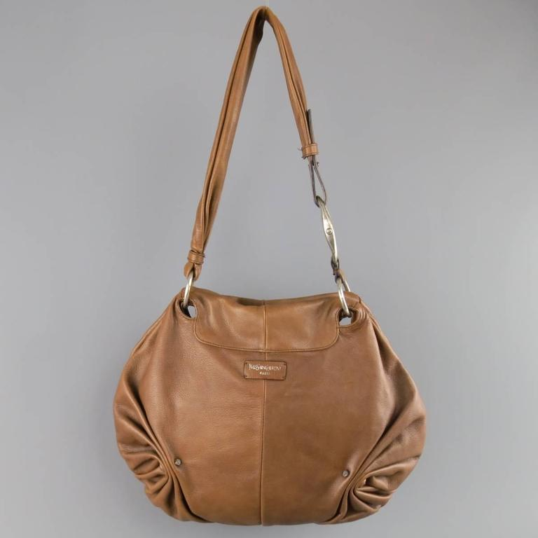 Women's YVES SAINT LAURENT by TOM FORD 2003 Brown Leather Gathered Shoulder Bag For Sale