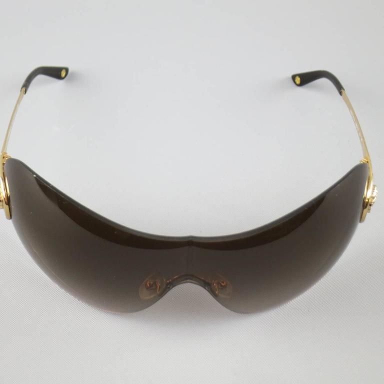GIANNI VERSACE Brown Gold Tone Medusa Emblem Metal Sunglasses at 1stdibs
