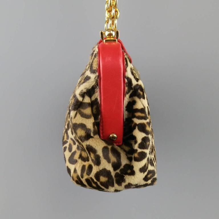 Women's ALEXANDER MCQUEEN Leopard Pony Hair Red Leather Gold Chain Shoulder Bag For Sale