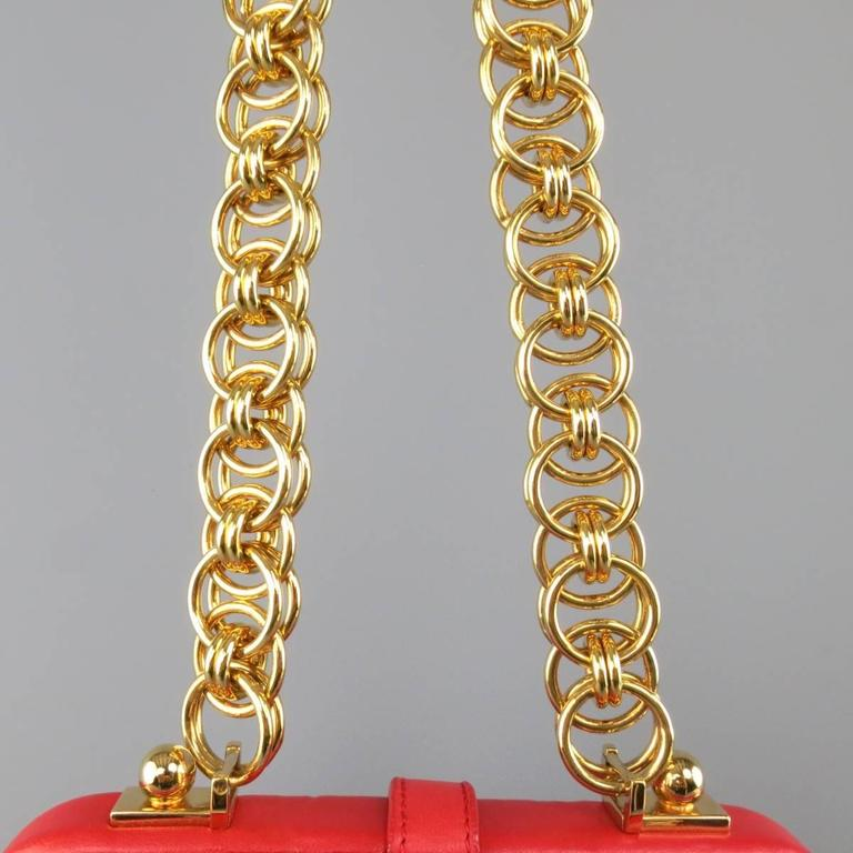 ALEXANDER MCQUEEN Leopard Pony Hair Red Leather Gold Chain Shoulder Bag For Sale 2