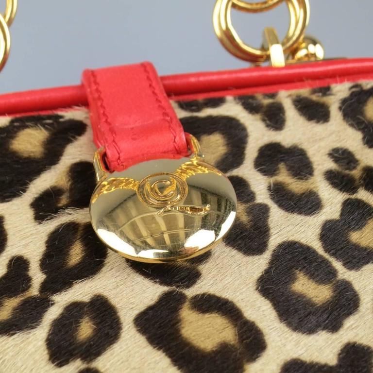 Beige ALEXANDER MCQUEEN Leopard Pony Hair Red Leather Gold Chain Shoulder Bag For Sale