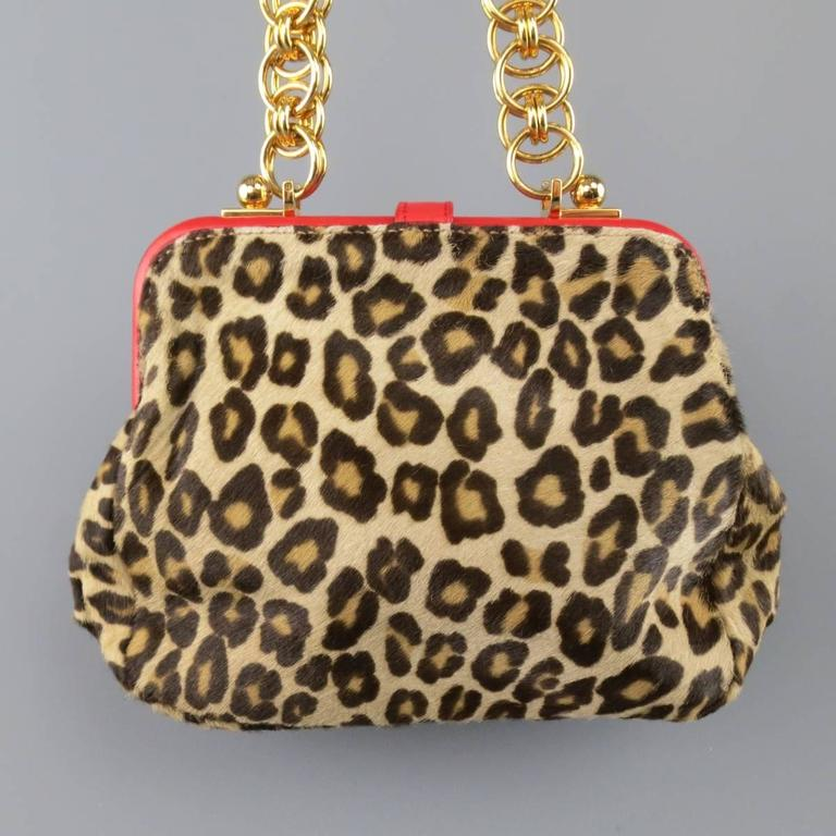 ALEXANDER MCQUEEN Leopard Pony Hair Red Leather Gold Chain Shoulder Bag 6