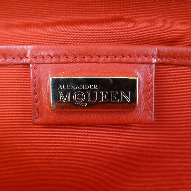 ALEXANDER MCQUEEN Leopard Pony Hair Red Leather Gold Chain Shoulder Bag For Sale 5