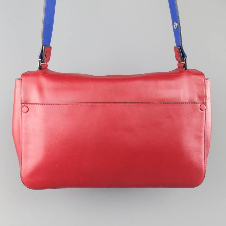 Proenza Schouler Red & Blue Color Block Leather Shoulder Bag CEA7JN