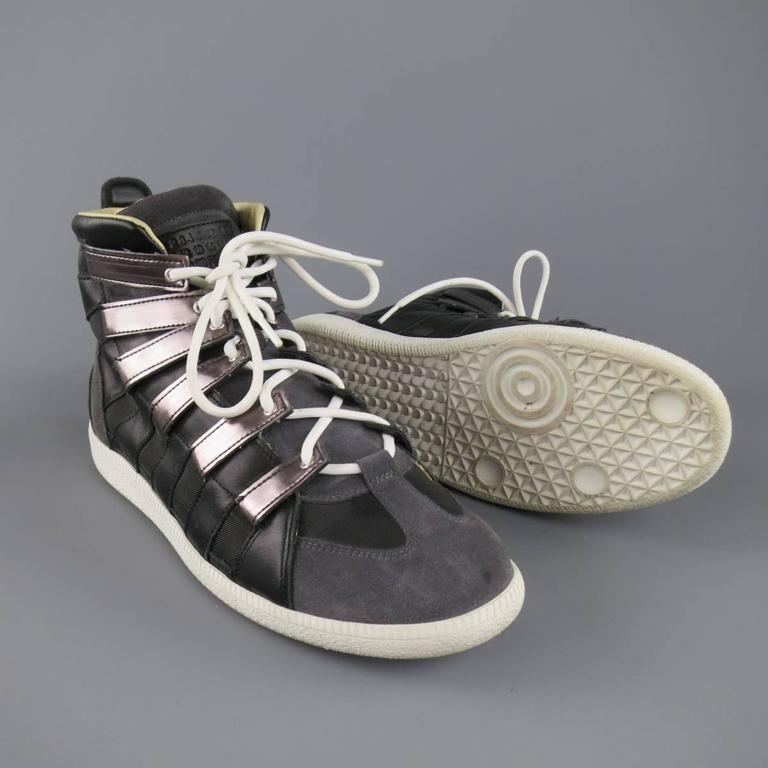 men 39 s maison martin margiela size 12 black and grey mesh stripe high top sneakers for sale at. Black Bedroom Furniture Sets. Home Design Ideas