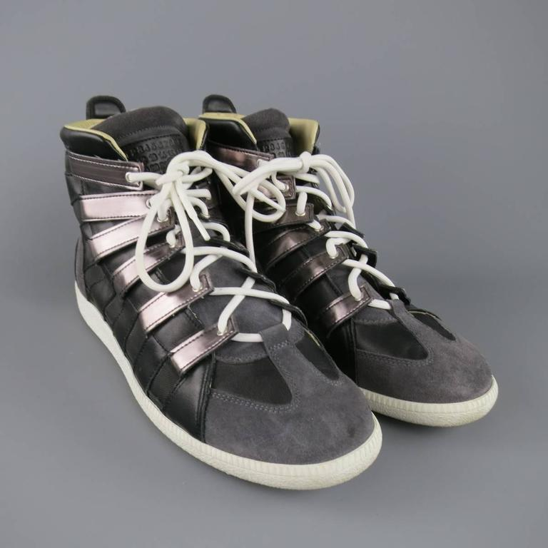 MAISON MARTIN MARGIELA Sneaker US12 Black, Grey Mesh Stripe High Top Trainers In Good Condition For Sale In San Francisco, CA