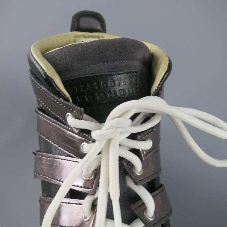 MAISON MARTIN MARGIELA Sneaker US12 Black, Grey Mesh Stripe High Top Trainers For Sale 1