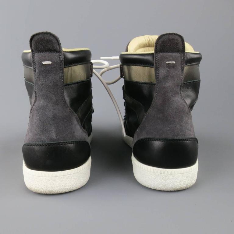 MAISON MARTIN MARGIELA Sneaker US12 Black, Grey Mesh Stripe High Top Trainers For Sale 2