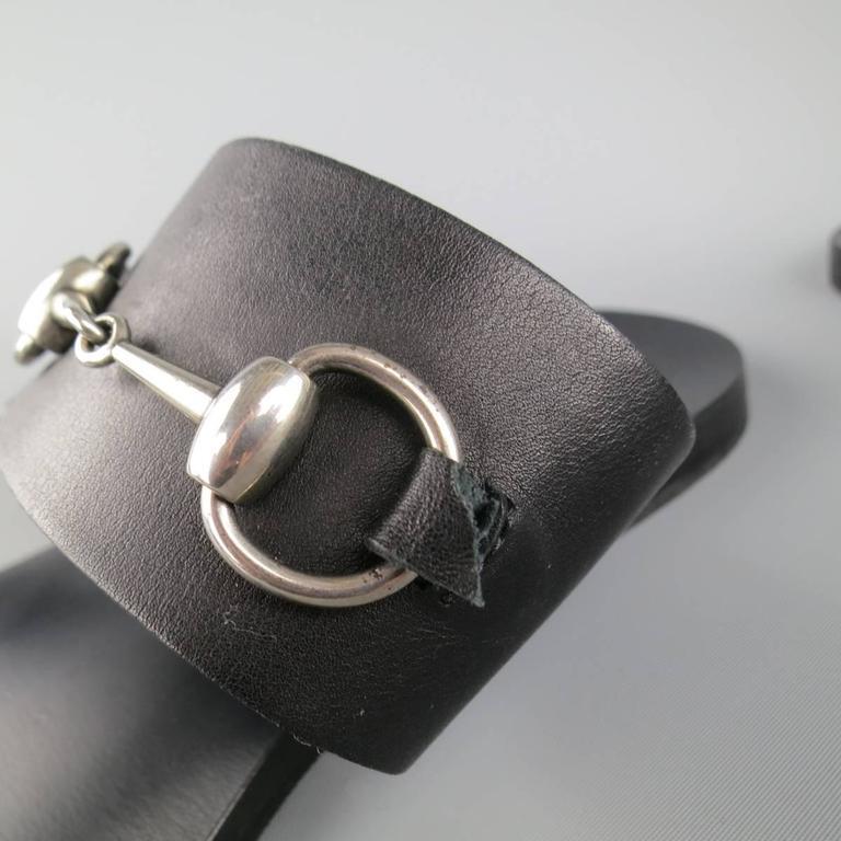 e50185f5b Men's GUCCI Size 11 Black Leather Silver Horsebit Toe Strap Sandals For  Sale 1