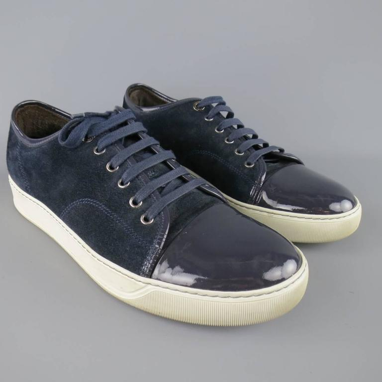 Men S Lanvin Size 10 Navy Suede And Patent Leather Cap Toe