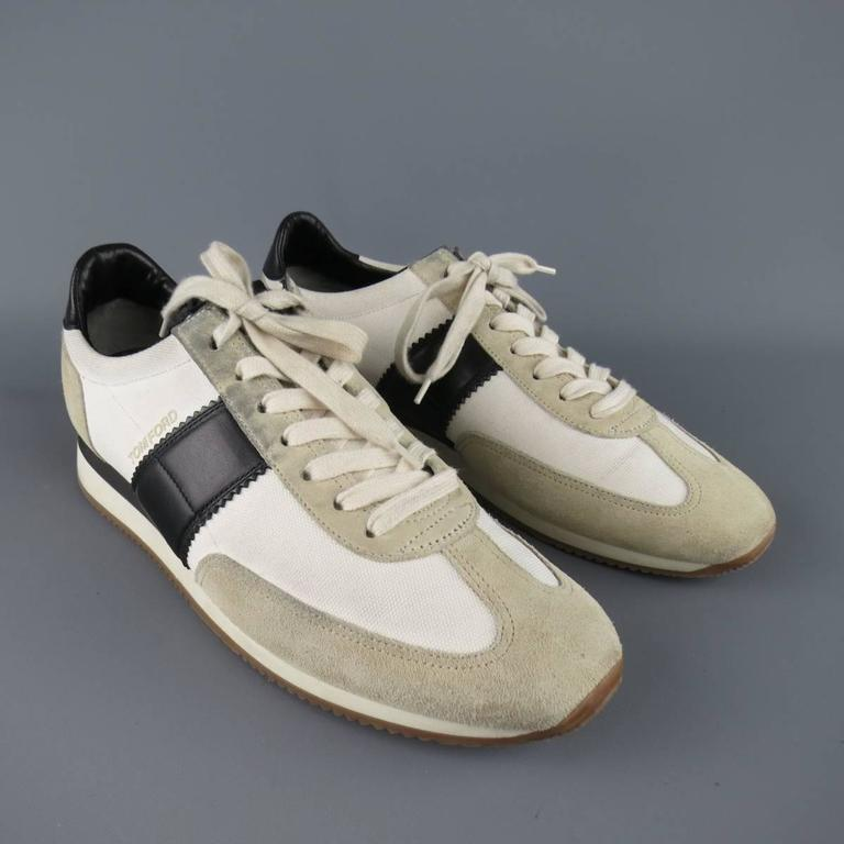 tom ford size 11 white and black two toned suede and
