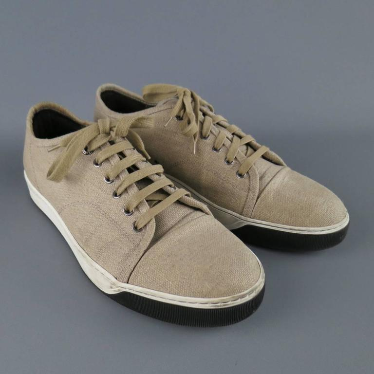 LANVIN Sneakers - Men's Size 8 Beige Woven Canvas Cap Toe Trainers In Fair Condition For Sale In San Francisco, CA