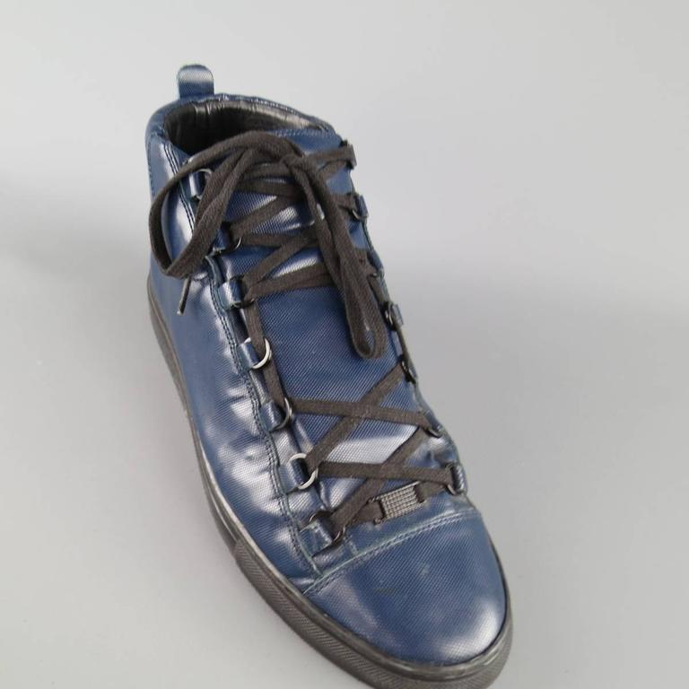 balenciaga size 11 teal navy textured leather arena